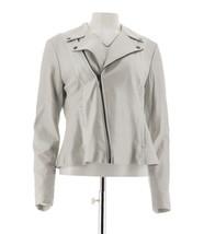 H Halston Pearlized Lamb Leather Motorcycle Style Jacket Platinum 10 NEW... - $177.19