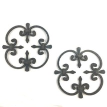 Vintage Wrought Iron Wall Hanging Lot Fleur De Lis Hangings Rustic - $49.45