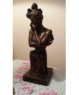 19th C Art Nouveau Bust Marble Bronze Beautiful Lady Georges Van Der Str... - $495.00
