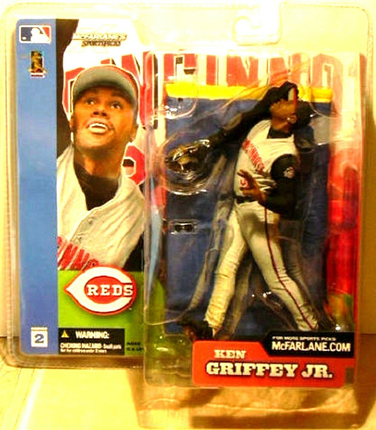 Ken Griffey Jr. Series 2 2002 McFarlane Cincinnati Reds Outfielder Figure-New!