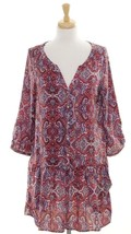 H&M 10 Tunic Dress Ruffle Boho Top Brown Floral Quarter Sleeve V Neck Tiered - $13.02