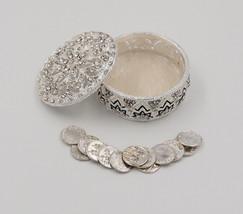 Silver Metal Round Rhinestone Wedding Arras de boda Box Set with Coins SR01 - $32.56
