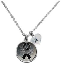 Custom Skin Cancer Awareness Sparkle Silver Necklace Jewelry Choose Initial - $15.80