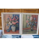 "COUNTESS ZICHY PICTURES FLOWERS IN VASES NO GLASS 16""X20"" FRAME 18 1/2""X... - $14.99"