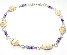 Necklace the Aluminium Long 48 Inch with Shell Hematite and Crystals Strass image 1