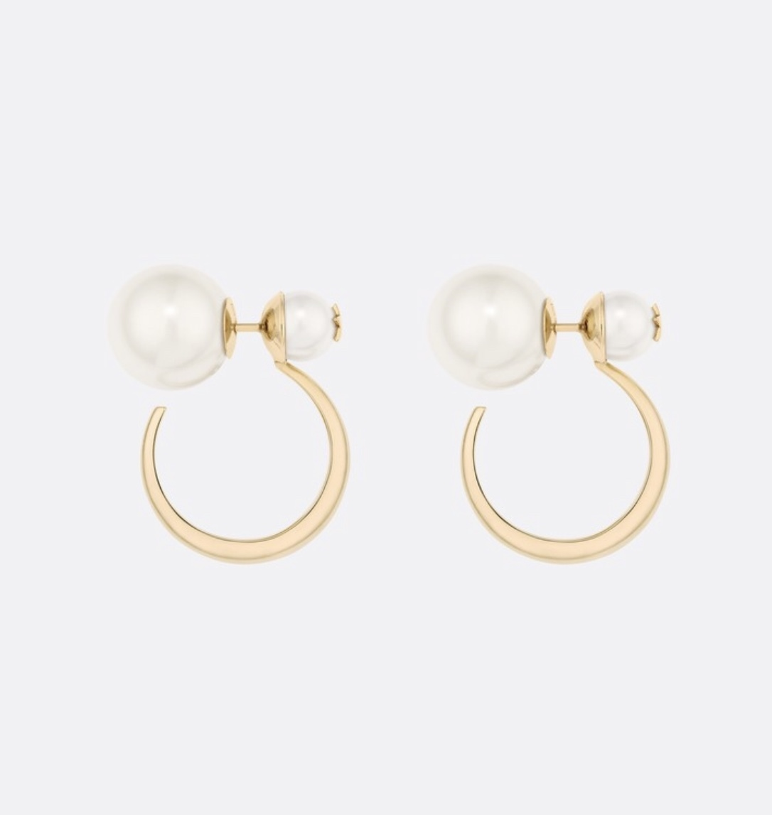 Primary image for AUTHENTIC Christian Dior 2019 DIOR TRIBLES GOLD HOOP DOUBLE PEARL STAR Earrings