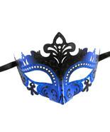Sexy Black Blue Laser Cut Mardi Gras Masquerade Mask Dance - $13.29
