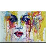 "Beautiful Crying Young American Woman portrait Print on canvas 28x40"" - $27.23"