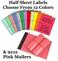 9x12 Pink Poly Mailers + 8.5x5.5 Color Half Sheet Self Adhesive Shipping... - $2.99+