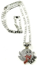 DOPE Ghost Boo New Rhinestone Pendant Necklace with 24 Inch Figaro Style... - $18.85