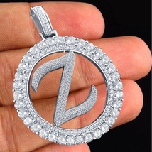 """Z"" Alphabet Pendant Round Cut Diamond 10k White Gold Plated 925 Sterlin... - £116.60 GBP"