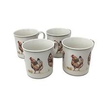 Set di 4 Country Polli Lattiera Fine Porcellana Tazze in Confezione Regalo - $24.47