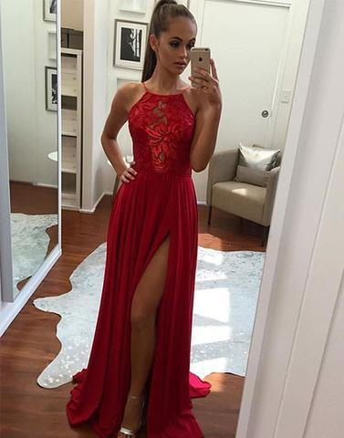 Red long side slit evening dress,chiffon prom dresses,BD17042401