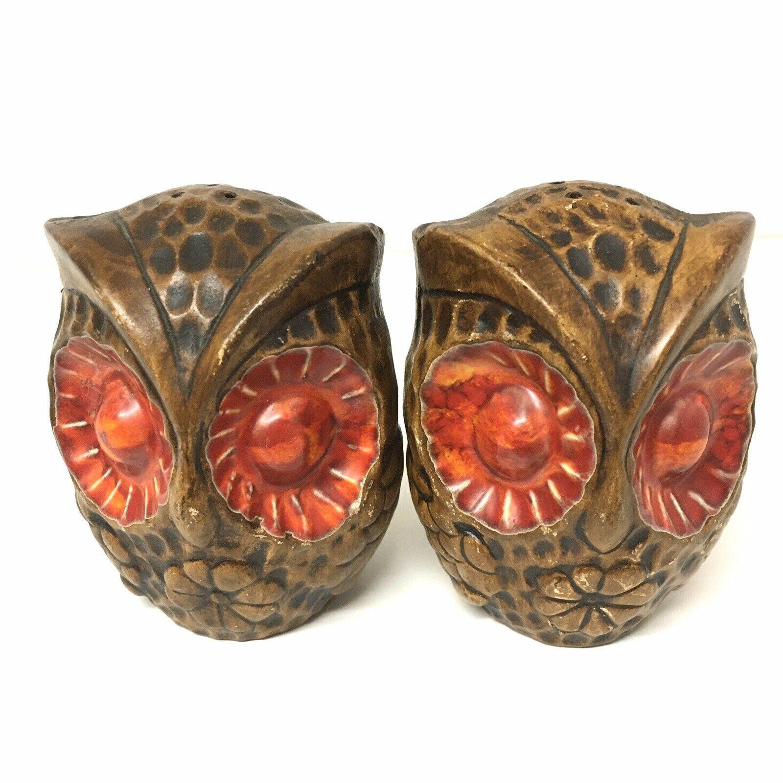 Treasure Craft Big Red Eyed Owl Salt Pepper Shakers MCM RETRO Mid Century - $19.79