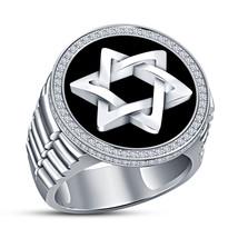 14K White Gold Finish Diamond Pinky Ring Men's Round Shape Star Wedding ... - $182.99