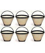6 PACK Universal Gold Tone Permanent #4 Cone Coffee Filter Fits Cuisinar... - $23.94