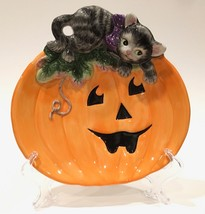 "Fitz and Floyd Essentials 'Halloween Kitty' 8-1/2"" Canapé Plate - $484,57 MXN"