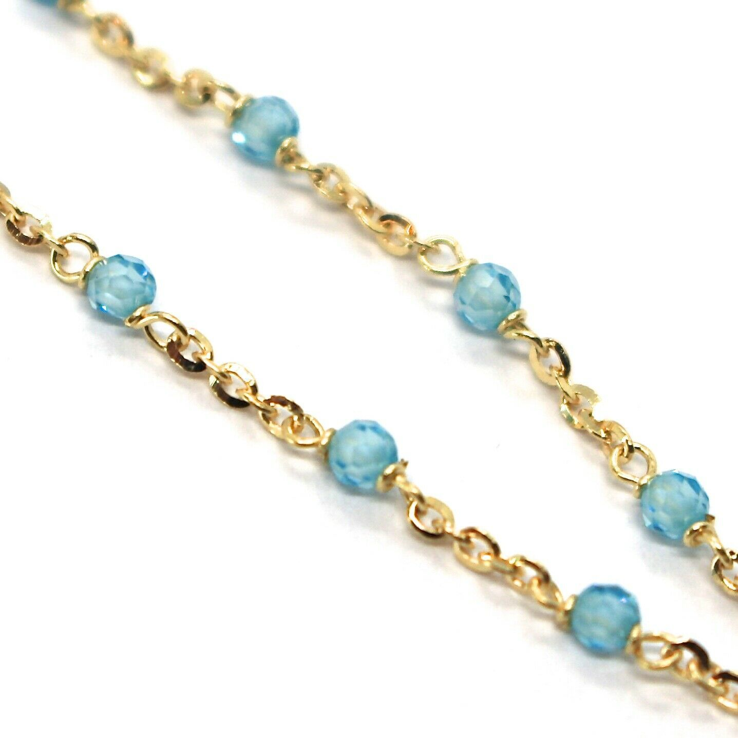 18K YELLOW GOLD BRACELET, AZURE FACETED CUBIC ZIRCONIA, ROLO CHAIN, 6.9 INCHES image 2