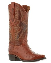 mens cognac brown ostrich exotic crocodile western leather cowboy boots ... - £75.40 GBP