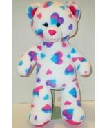 "BUILD A BEAR PINK BLUE COLORFUL HEARTS TEDDY 16"" PLUSH STUFFED ANIMAL DO... - $9.99"