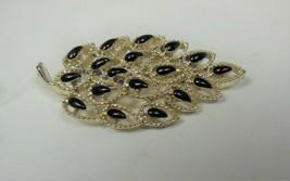 Gold Tone & Black Lucite Leaf Pin - $12.86