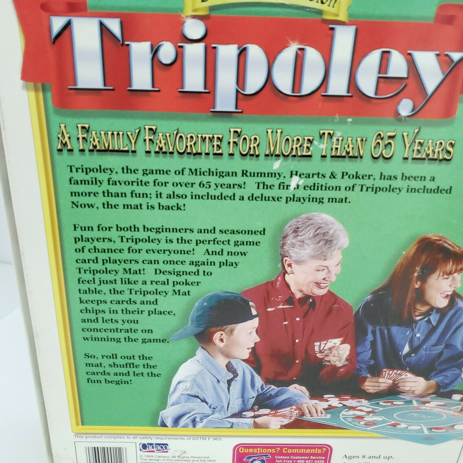 Tripoley Board Game Deluxe Mat Version Cadaco 2-9 Players Vintage 1999 Complete image 8