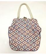 Vtg Boho Beaded Red White Blue Handbag Purse July 4 VTG  - $29.69