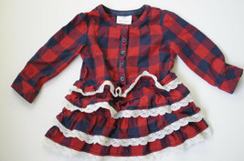 Hanna Andersson Dress Size 80 2 Navy Red Buffalo Plaid Ruffles Lace Holi... - $29.99