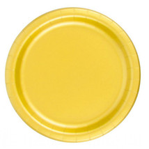 """72 Plates 6 7/8"""" Paper Dessert Plates Wax Coated - Harvest Yellow - $12.82"""