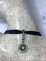 Vintage Real Green Chrome Diopside 925 Sterling Silver Pendant Choker Ne... - $123.75