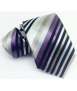 New tie striped gray 100% silk Made in Italy MORGANA business wedding - $27.93