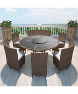 vidaXL Outdoor Dining Set Poly Rattan Table Bench Chair 13 Piece Wicker ... - $1,072.99