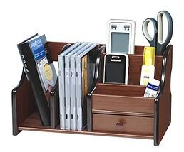 Wood Office Supplies Desk Organizer Rack Desktop Office Supplies Storage... - $18.92