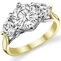 Round 3 Stone 6 prong Trellis Charles & Colvard Moissanite Ring 14K 2 Tone Gold - $767.25+
