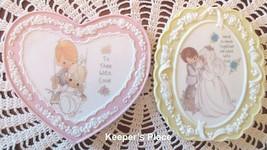 2 Precious Moments Small Porcelain Bisque Plaques Enesco Bride Groom Love Mint - $10.00