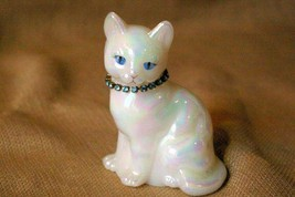 "Fenton White Opalscent Cat Figurine 3 3/4"" - $20.78"