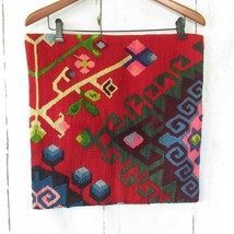 Wool Kilim Throw Pillow Cover Red 17 x 17 Square Turkish Hand Woven Floral - $32.43