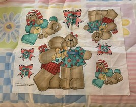 New Christmas Teddy Bear Applique Fabric Panel UnderThe Mistletoe Daisy Kingdom - $9.49