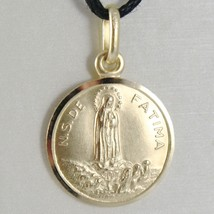 SOLID 18K YELLOW GOLD OUR LADY OF FATIMA, VIRGIN MARY ROUND MEDAL MADE IN ITALY
