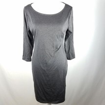 Old Navy Fitted Dress Womens Size M Medium Gray Above Knee Button 3/4 Sl... - $10.78