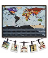 Scratch Off World Map with Hanging Rope 2019: 17 x 24 Inch Travel Poster... - $14.22