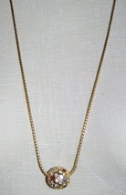 VTG NAPIER Gold Tone Long Necklace with Multi-Color Rhinestone Ball Pendant image 1