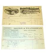 2 1901 HOLTON & WEATHERWAX Foundery Mill Jackson MI Antique Billheads Re... - $9.99