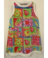 POLLY FLINDERS Cotton Pique Shift Dress Bright Multicolor Fruits Veggies... - $12.73