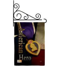 Purple Heart Hero Burlap - Impressions Decorative Metal Fansy Wall Brack... - $36.97