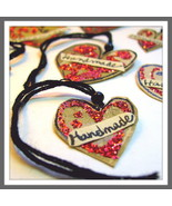 Tags For Handmades Hearts Red 7 Pk Hand Cut From Authentic Vintage Photos  - $2.25