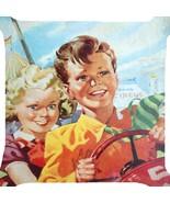 Retro boy girl amusement park circus game funny pillow cushion cover 2 s... - $13.45