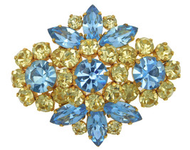 VINTAGE PASTEL RHINESTONE BROOCH JULIANA STYLE BLUE & GREEN TIERED PIN 2... - $89.95