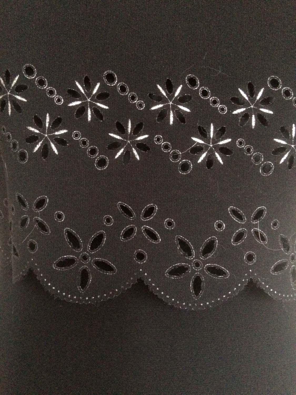 90s Vintage Black Cut Out Floral Pattern Front Side Slit Sheath Tie Back Maxi Dr
