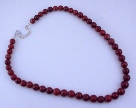 Red Jasper Beaded Necklace Jewelry 47 Gr. oj-376-3 - $5.93